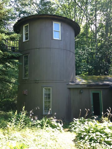 Three story silo in the country