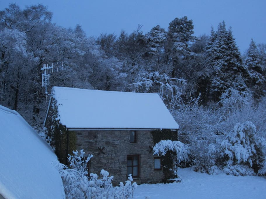 The cottage in winter and a rare snowfall!