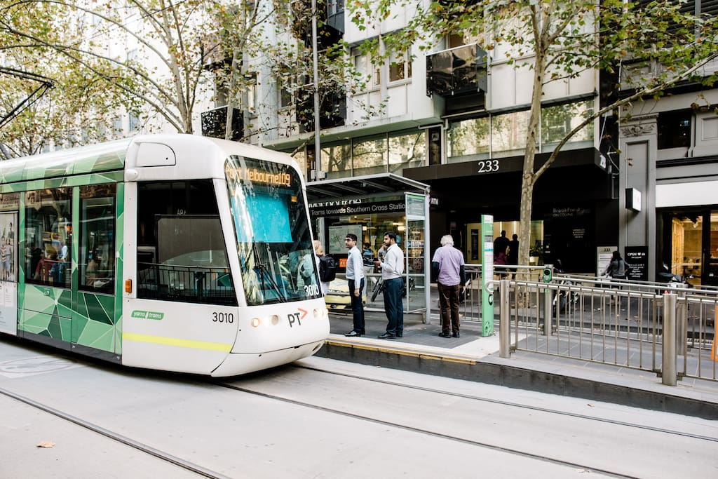 Tram Stop within Free Tram Zone, right in front of the Apartment