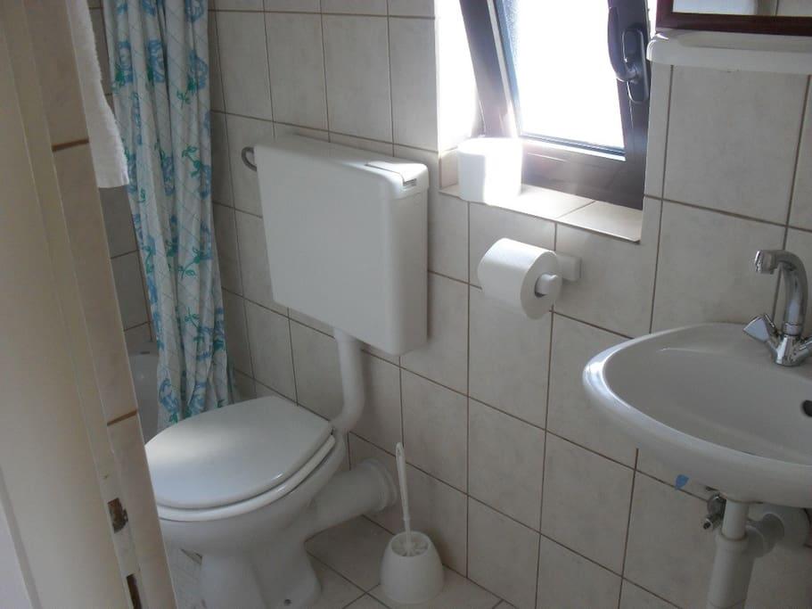 Kupaonica s tuš kadom, wc i umivaonikom.