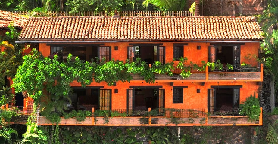 Old Vallarta style living with ocean views, 2-minute walk to beach.
