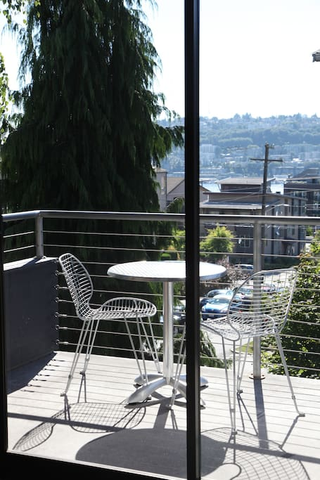 Enjoy the little view of the lake and Space Needle from your balcony.