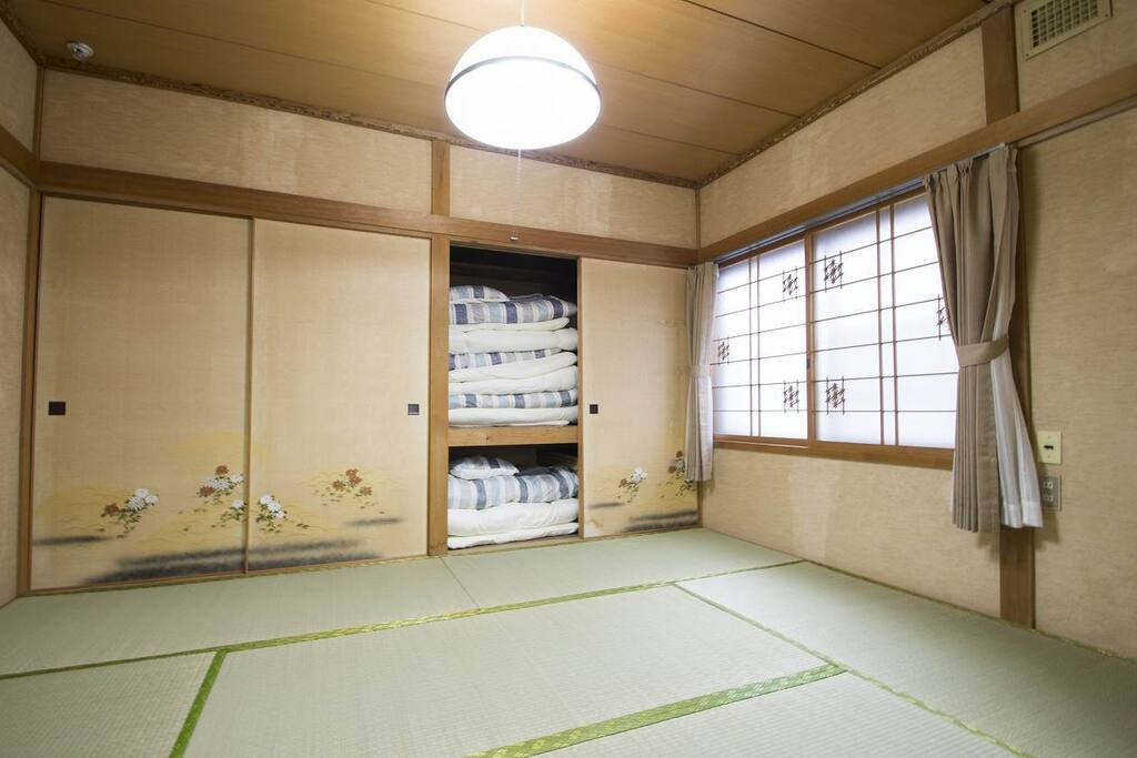 Bed Room sleep with futon on tatami mat, for your private use.