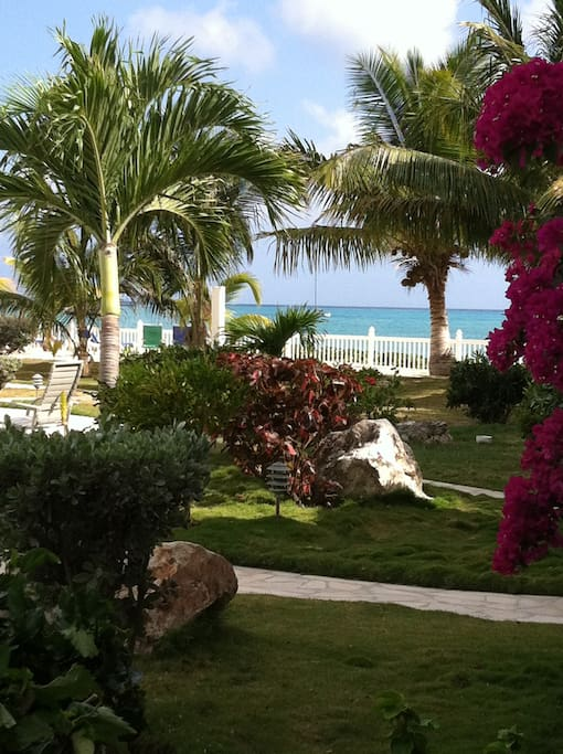 Gardens at Palm Beach and view from terrace.
