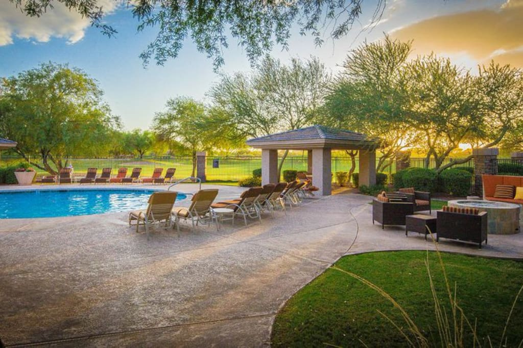 This beautiful condo is located next to the westin resort in kierland commons. You will love the hot tub, swimming in the heated pool , BBQ, firepits , fountains and beautifully manicured complex.This property is so close to teh Westin that you will hear the bagpipe music playing in the evenings at the resort