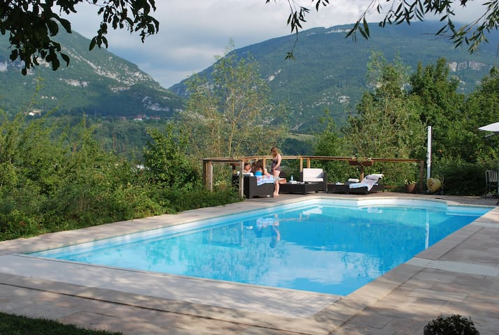 Private setting overlooking Rhone and Jura mountains