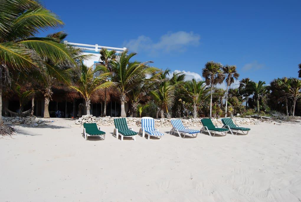 Beachfront villa with pool villas for rent in tulum for Villas tulum
