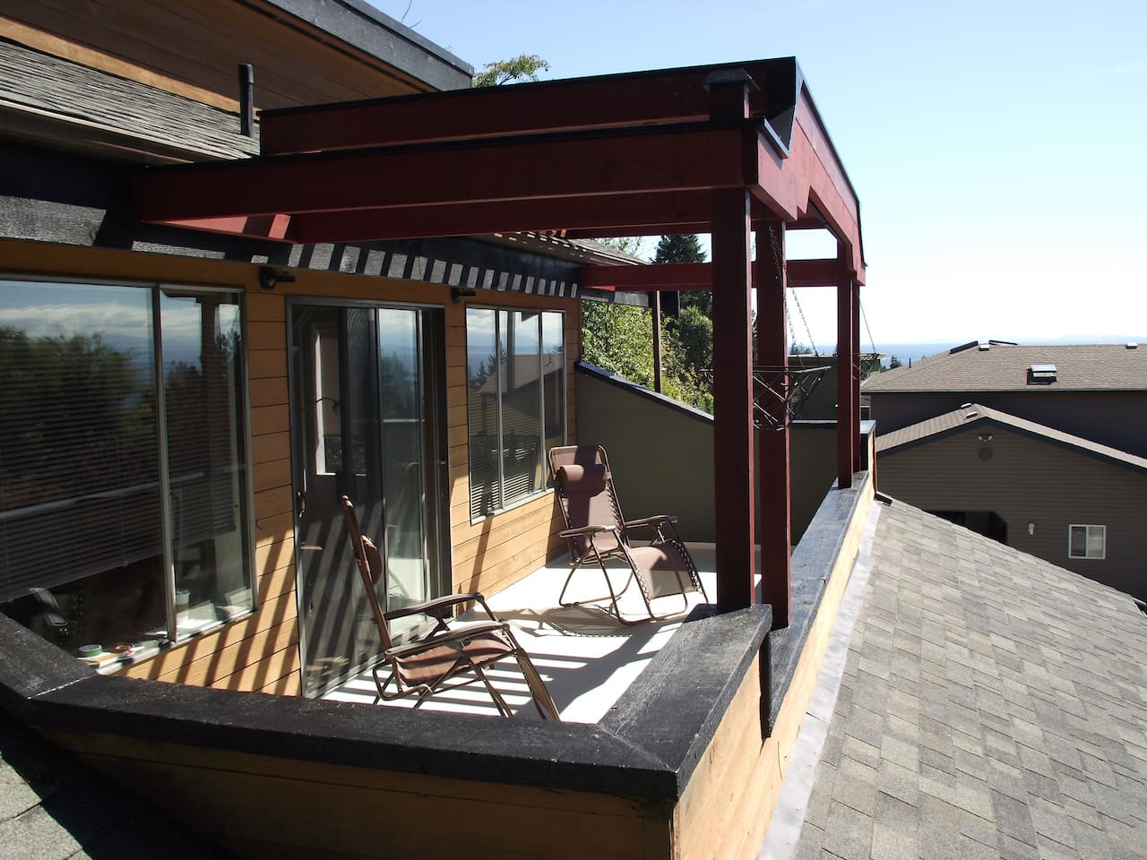 The upstairs deck for the suite.