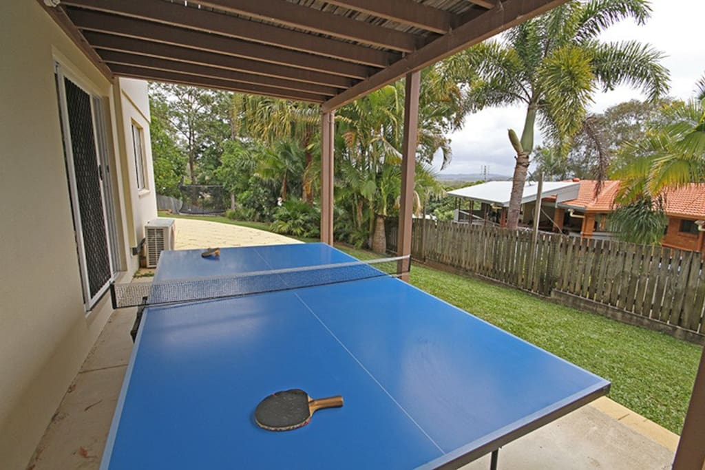 Table tennis table, bats and balls!