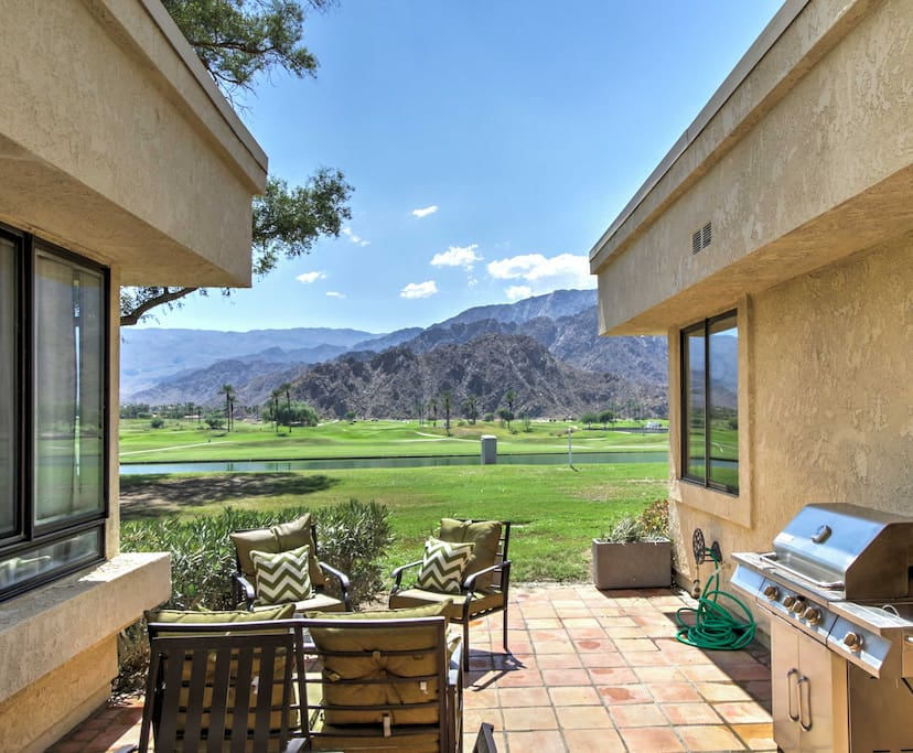 Situated in a luxury community, this 2,200-square-foot condo boasts comfortable furnishings and ample amenities for 8 guests to enjoy, all while staring out to the magnificent Santa Rosa Mountains.