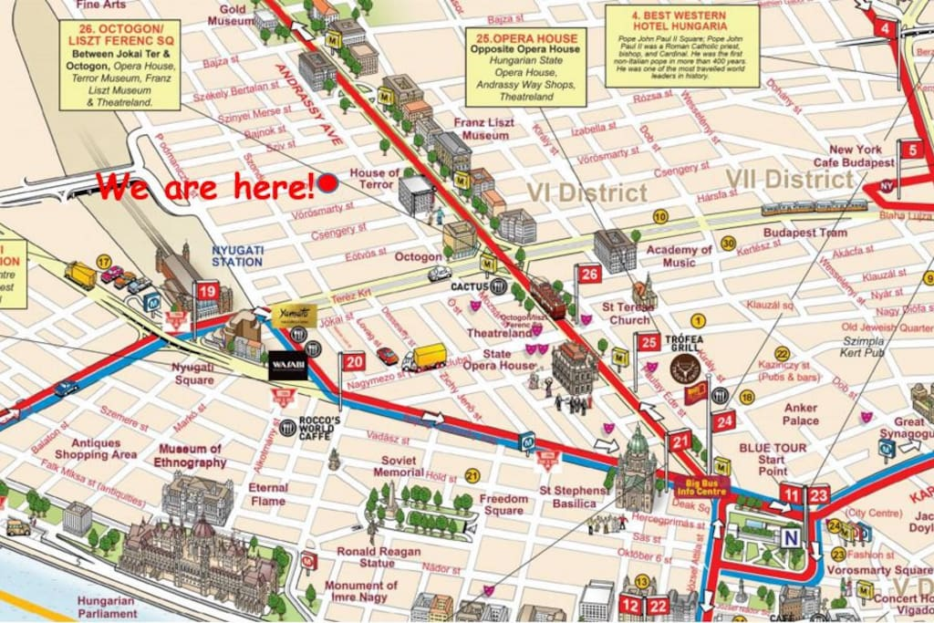 Map full with close attractions.
