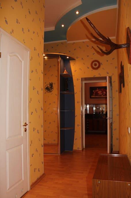 Прихожая. Туалет, ванная комната, и кухня (первая, вторая, и третья дверь соответственно. слева), и вход в зал - прямо.