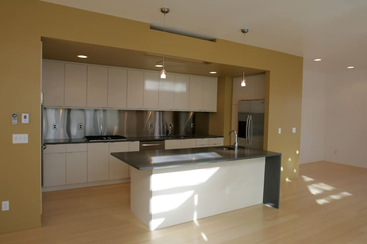 Bright Modern Kitchen With Gas Stove
