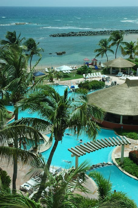 Resort pool and beach.