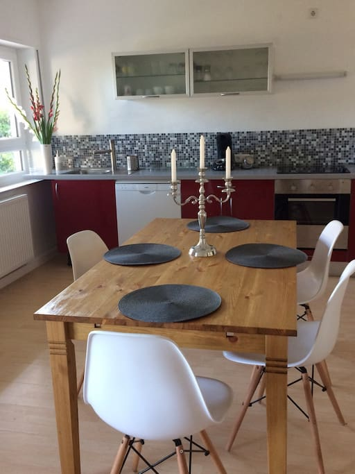 open plan kitchen area with fridge/freezer, dish washer, microwave, coffeemaker and everything else you need to prepare a wonderful meal