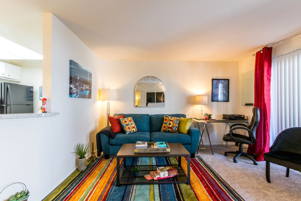 Bring the outdoor patio light inside the living room for a super comfy home-like experience plus hand-selected French accents. Our goal is to bring you all the comforts of a lovely home while we clean and provide those little extras.