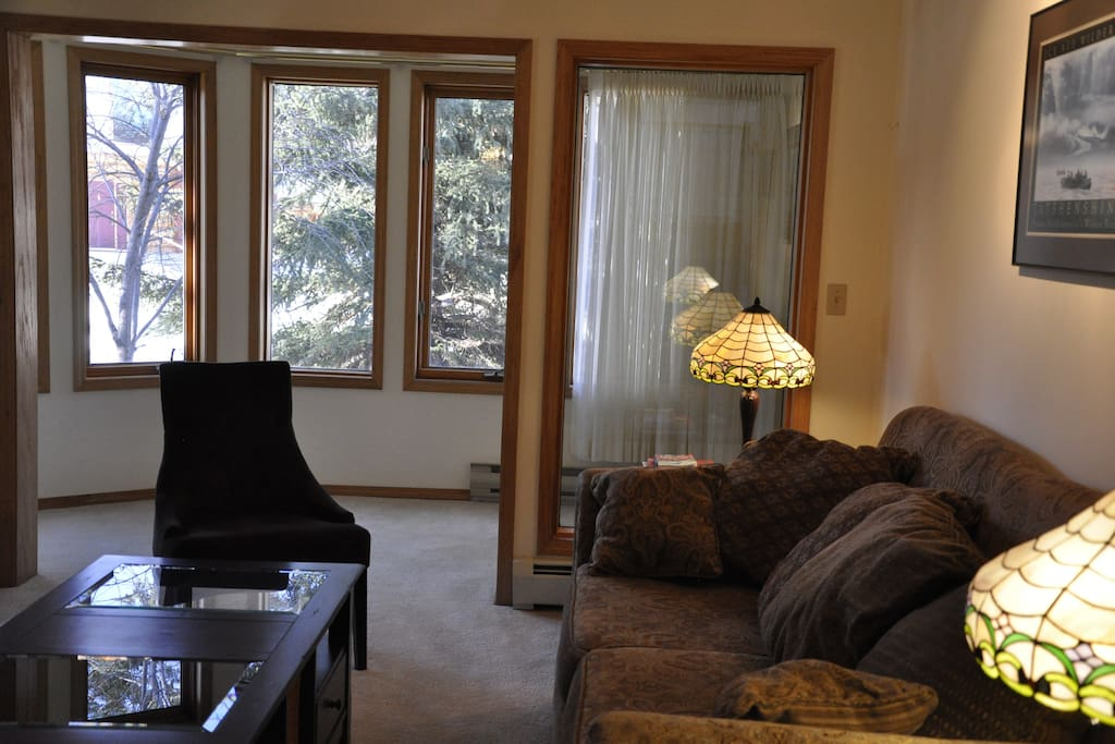 Living Room. Bright comfortable area with gas fireplace.
