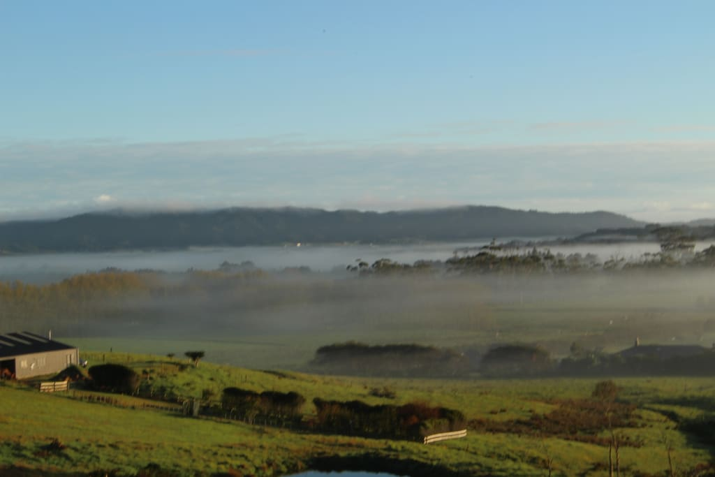 Morning mist views to the estuary from one side and the sea from the other