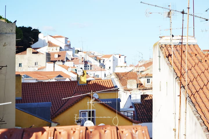 This is the beautiful view of the rooftops of Alfama