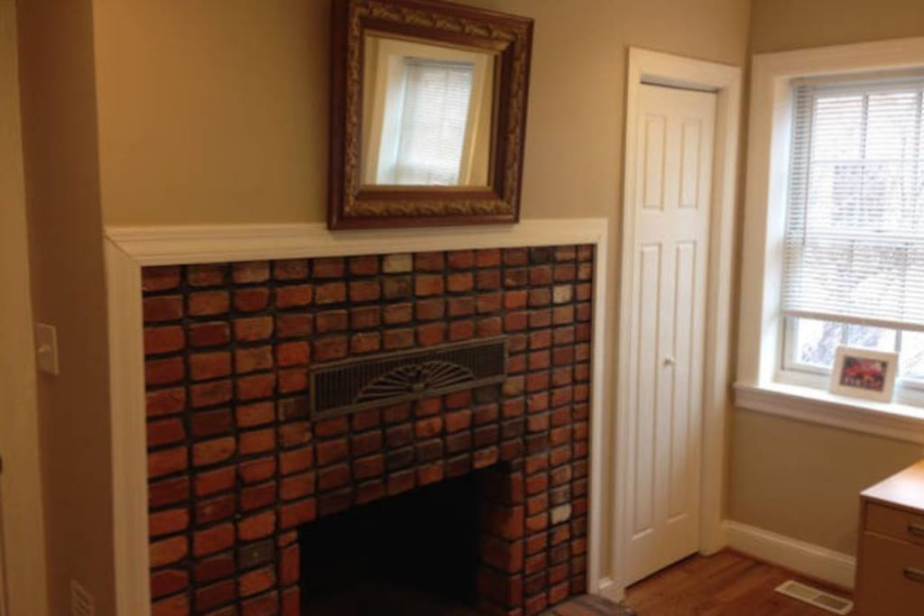 There are six fireplaces throughout the property, all different (and nonfunctional) - this one's yours!
