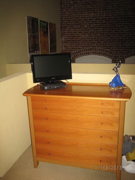 Dresser in Bedroom with TV.