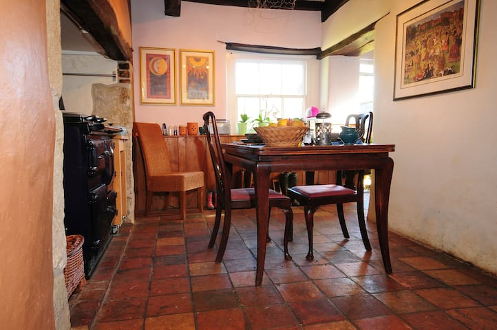the kitchen and dining in oldest part of our home...