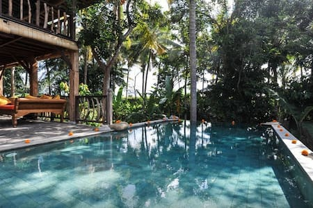 The mentioned price is for the 2 Bedrooms/1 Bthrm. Located on the top floor of our villa. Nested above trees and rice fields. Private and peaceful. Spacious rooms, suitable for family or a group of friends. Ubud Centre is 3 min away.