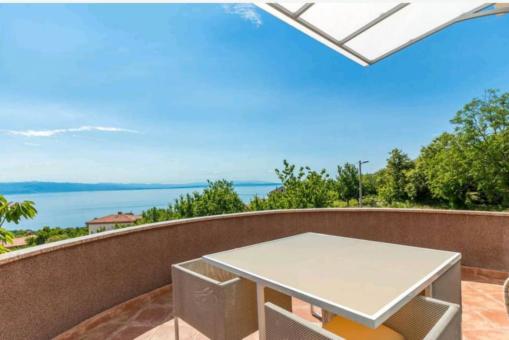 Balcony with a stunning view on Kvaner Bay