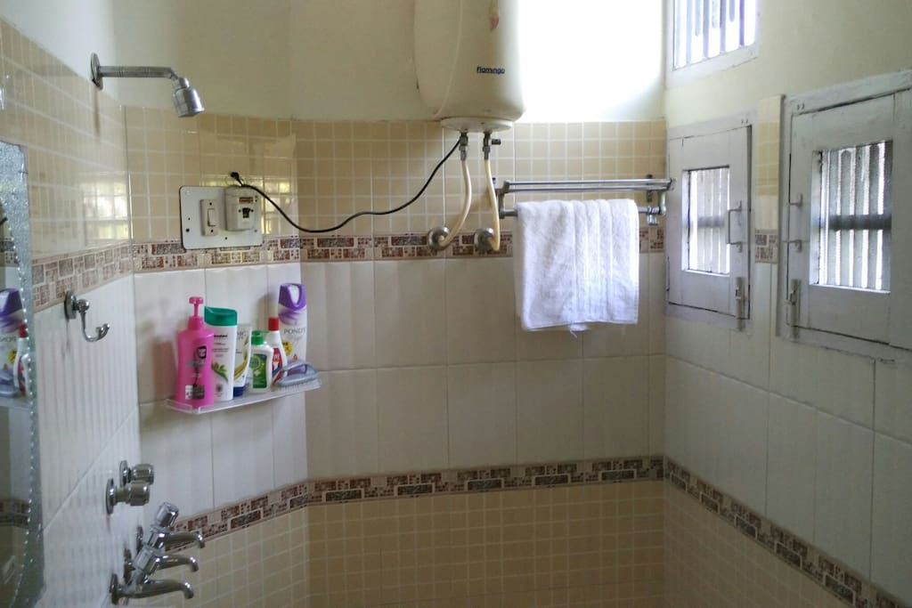 Washroom with geyser and shower.