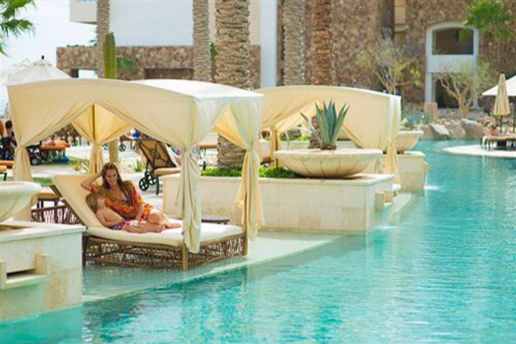The cabanas by the pool are available for all.