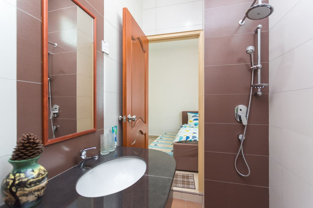 Bathroom with cold and hot shower.