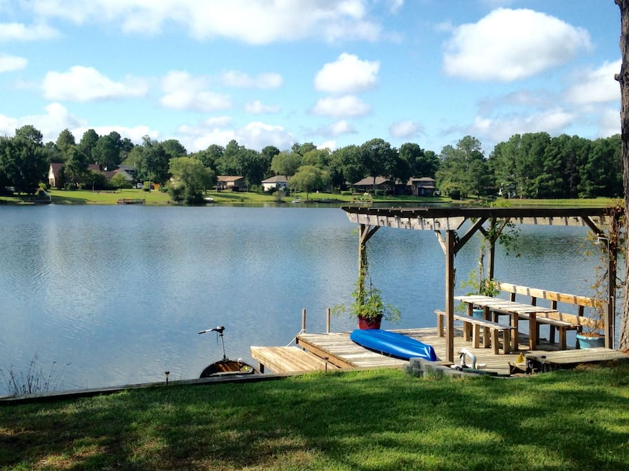 Boat dock. Want to go for a ride in the canoe or kayak? How about a picnic on the built in table?