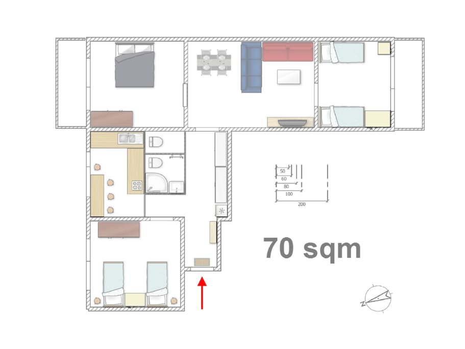 There are three bedrooms for 6, one living room for other two persons, two balconies, one toilette and one bathroom with an extra toilette.