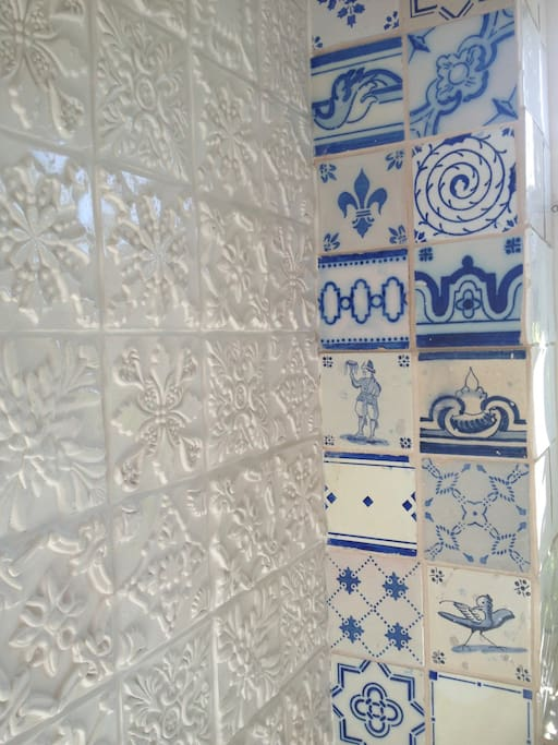 Hand made relief tiles (on left) inspired by several trips to Portugal