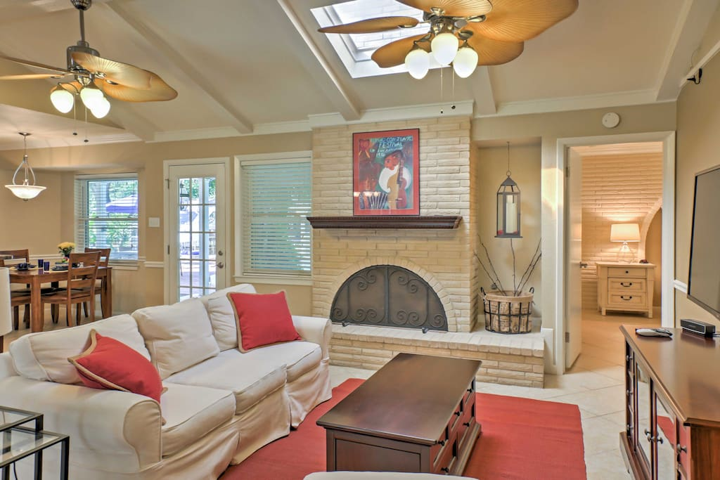 The cozy interior features stylish, modern decor and plush furnishings.