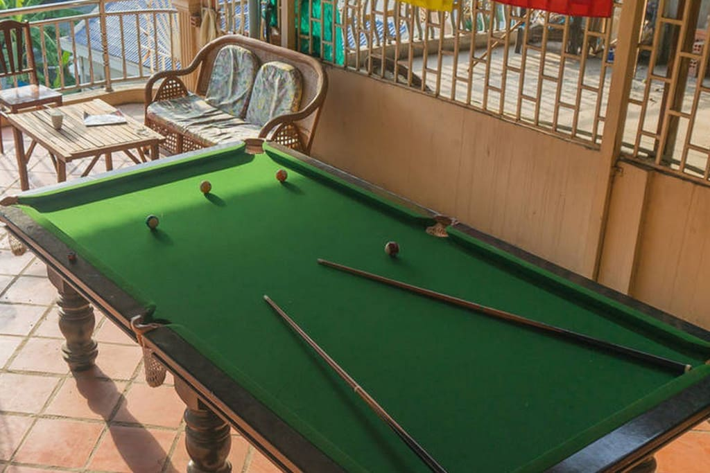 Balcony (terrace) with pool table