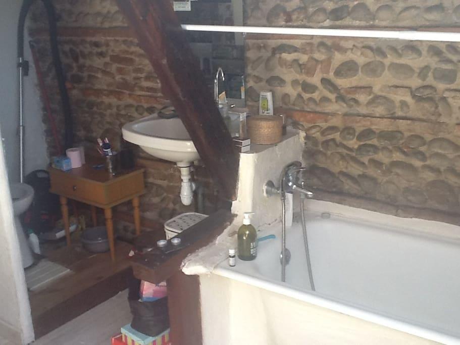 petit coin sdb, les toilettes sont sans portes
