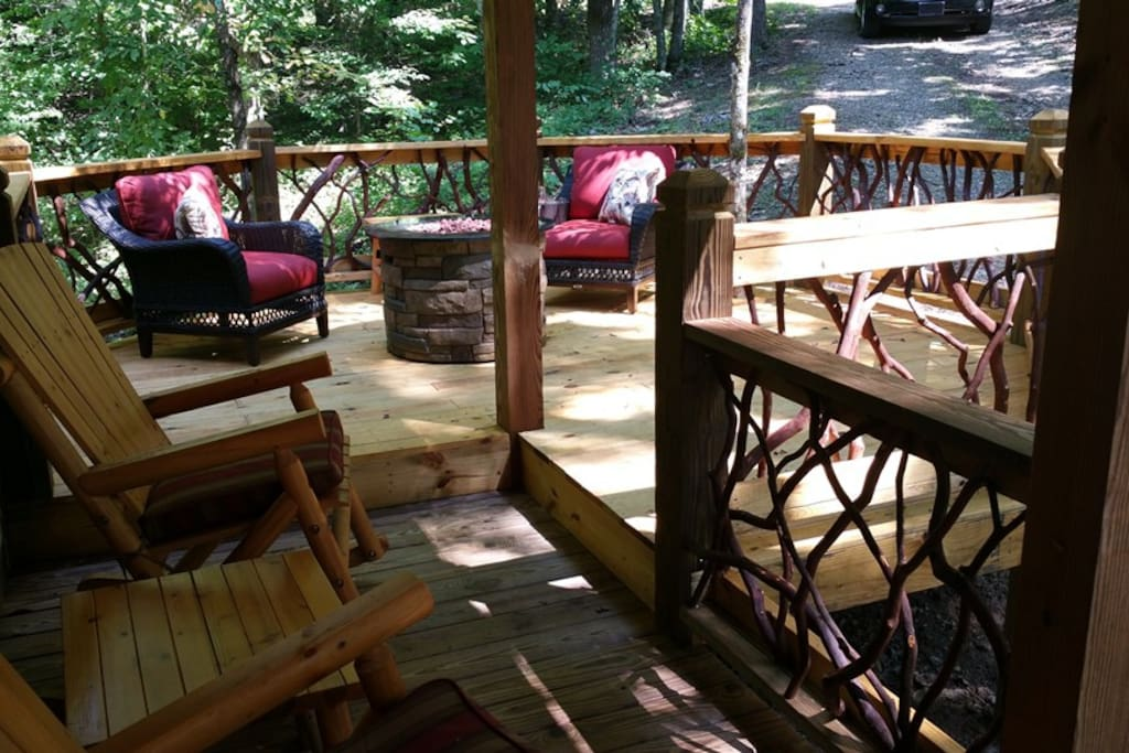 Deck addition with fire pit.