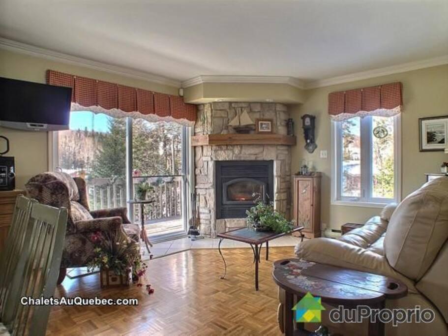 Salon avec beau foyer