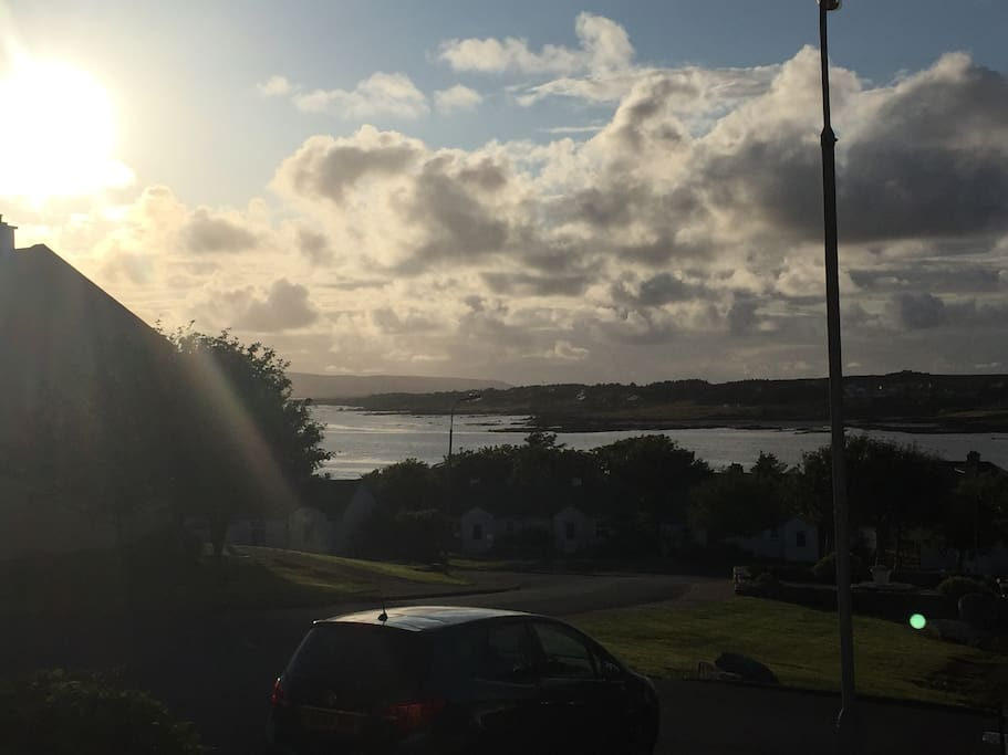 Evening view of Dungloe Bay from the front of the house.