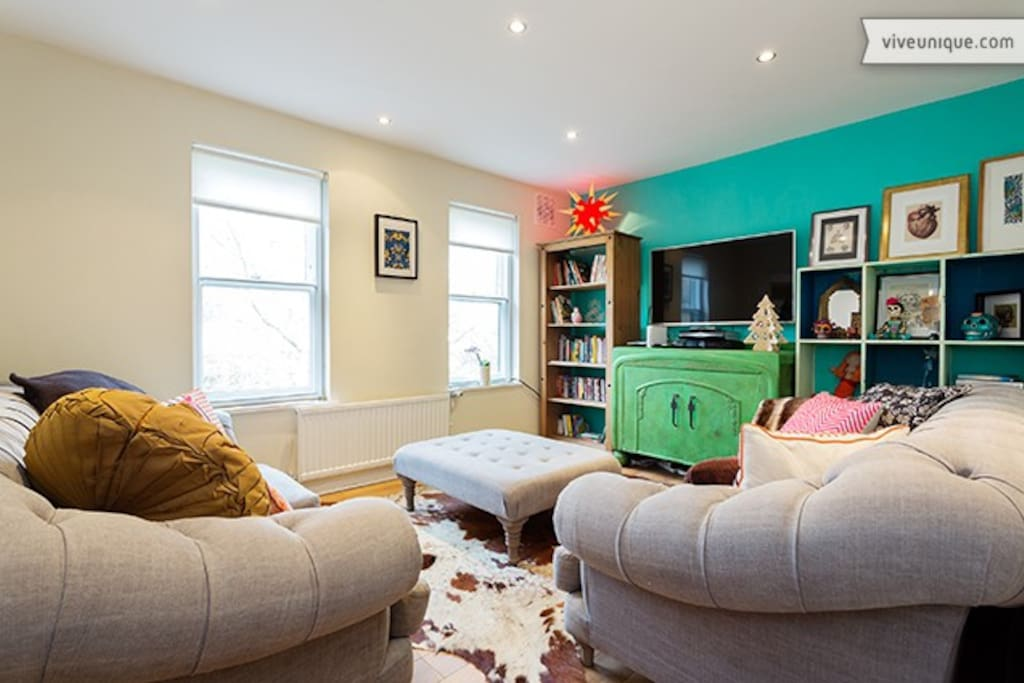 Super deep and comfy sofas with large TV