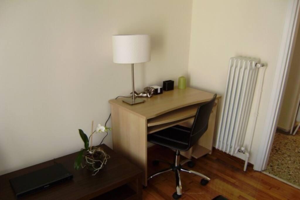 Living area, study desk