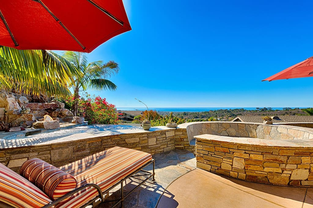 Stone and Tile Back Patio with Ocean Views