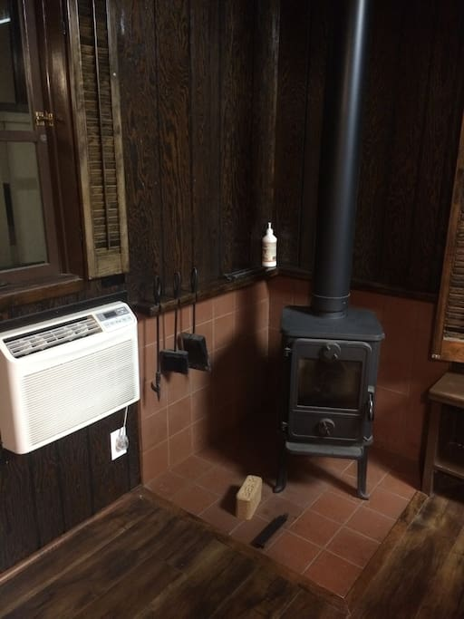 Wood burning stove and cold A/C.