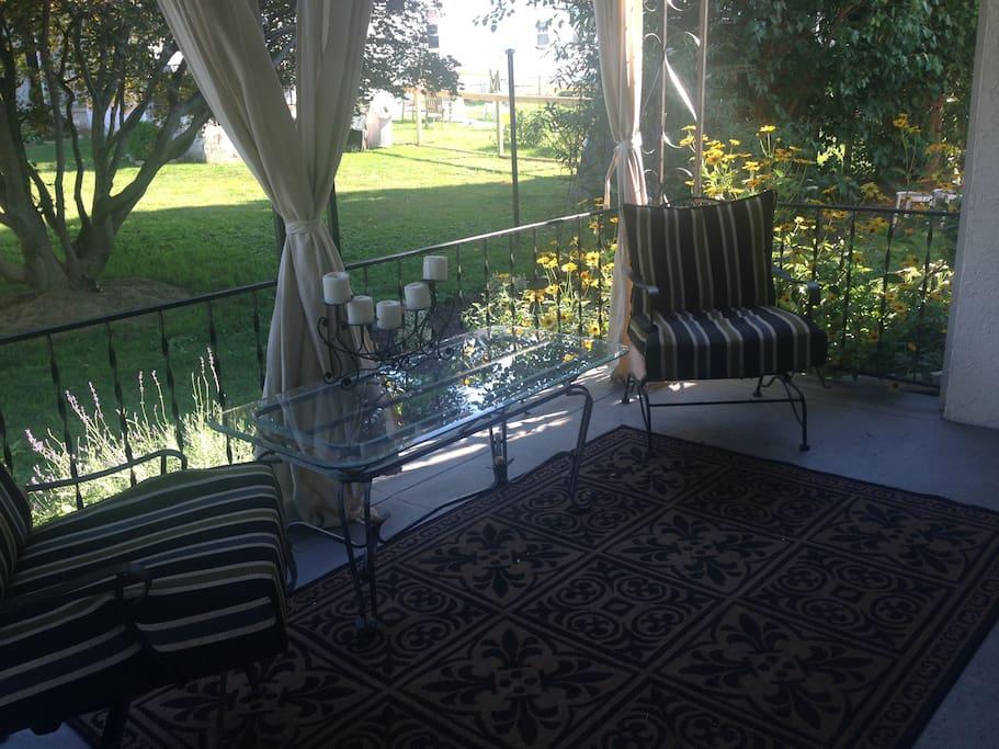 Semi-private porch.