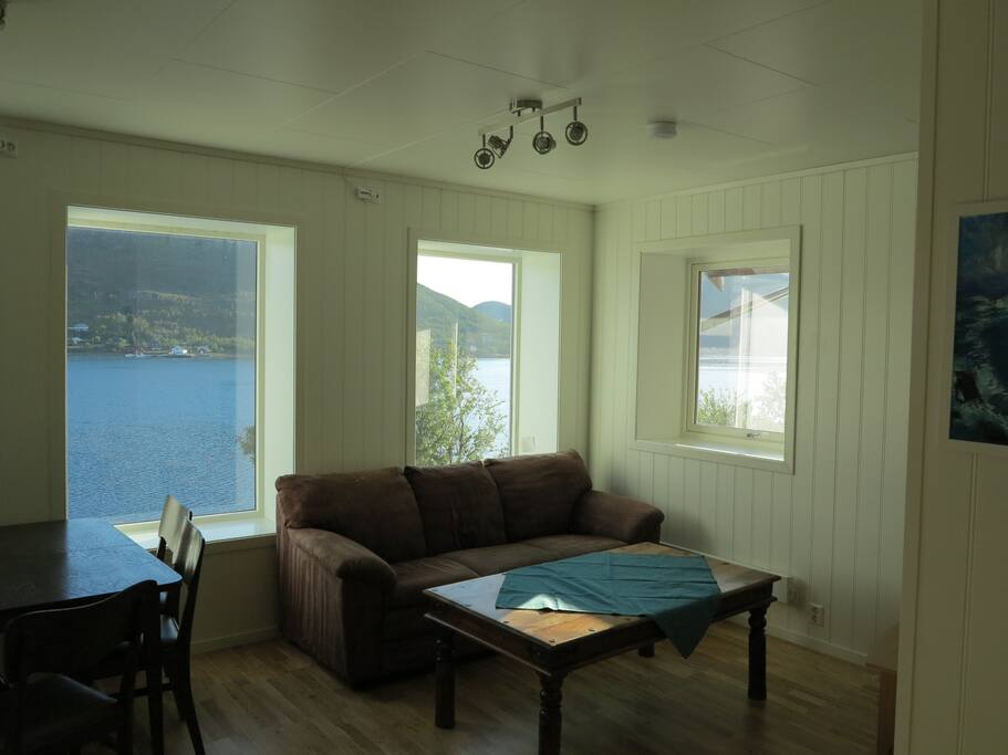 Living room with a amazing view to the fjord