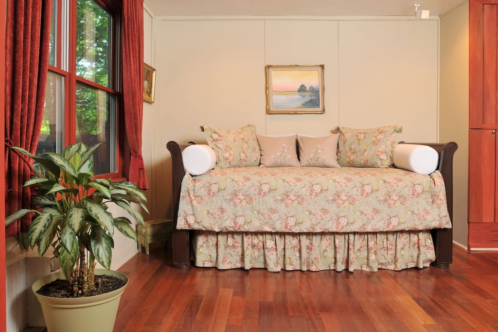 Twin-size bed for that third guest, or for two guests who desire separate sleeping arrangements