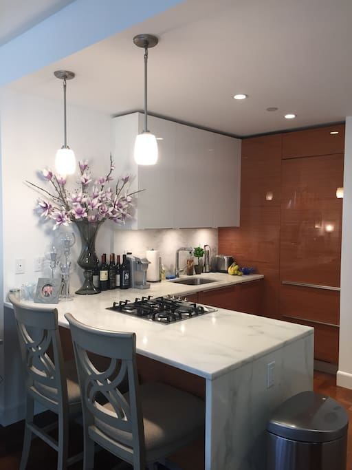 Kitchen and bar stool area