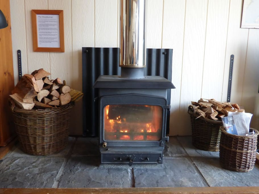Woodburning stove - lovely and warm at all times of the year.