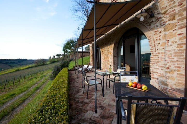 Vineyard apartment with pool and great views